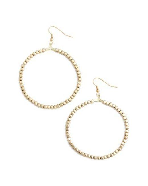 Karine Sultan | Metallic Ava Beaded Hoop Earrings | Lyst