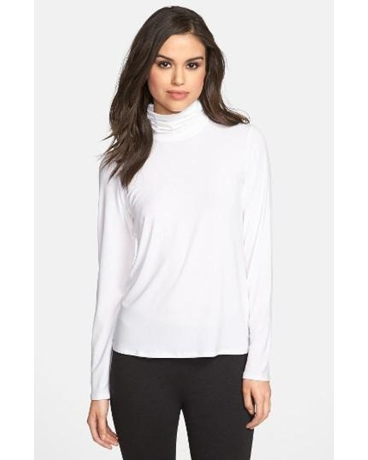 Eileen Fisher | Black Scrunch Neck Top | Lyst