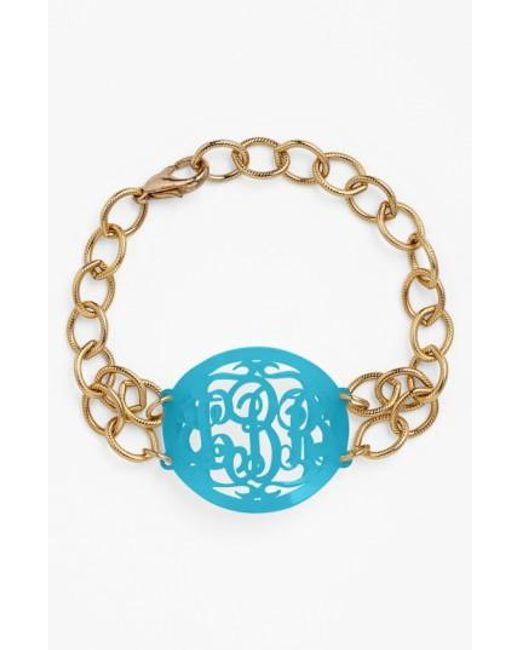 Moon & Lola   Metallic 'annabel' Medium Oval Personalized Monogram Bracelet (nordstrom Exclusive)   Lyst