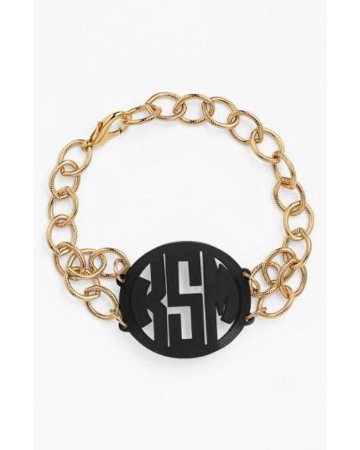 Moon & Lola | Black 'annabel' Medium Personalized Monogram Bracelet | Lyst