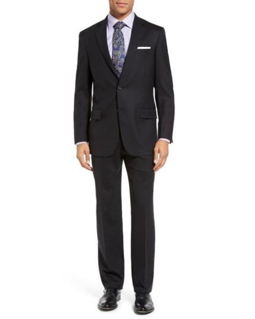 Hart Schaffner Marx | Black New York Classic Fit Solid Wool Suit for Men | Lyst