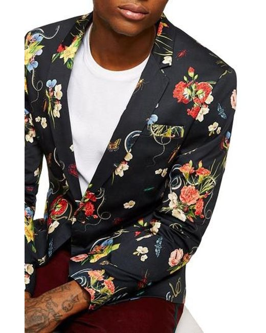 Topman - Multicolor Skinny Fit Floral Print Sport Coat for Men - Lyst