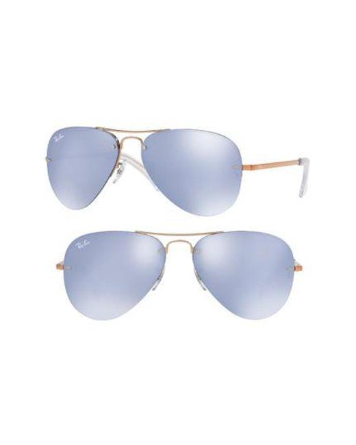 Ray-Ban   Metallic Highstreet 59mm Semi Rimless Aviator Sunglasses   Lyst