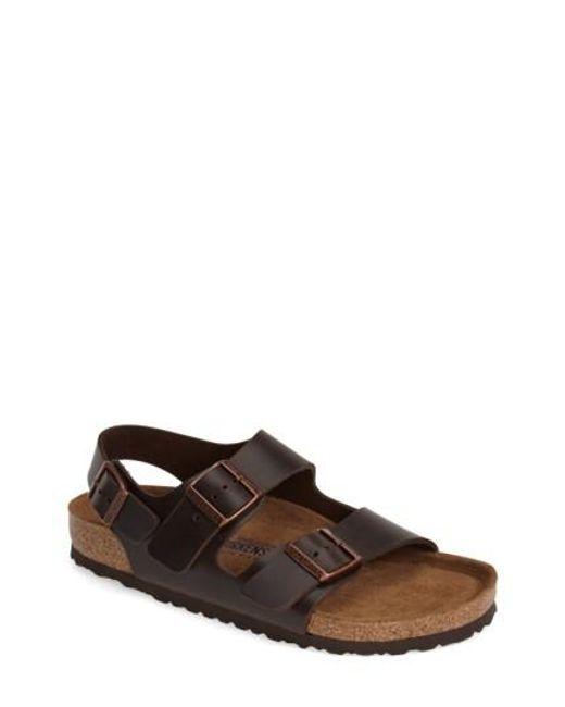 Birkenstock   Brown 'milano' Soft Footbed Sandal for Men   Lyst
