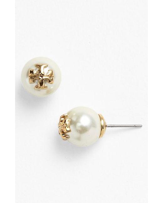 Tory Burch | Metallic 'evie' Swarovski Crystal Pearl Earrings | Lyst
