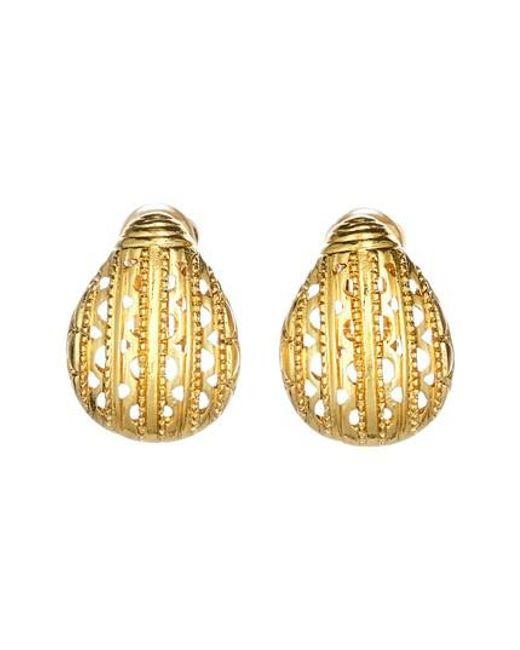 Oscar de la Renta | Metallic Scarab Button Clip Earrings | Lyst