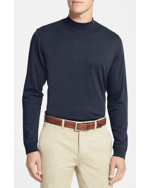 Cutter & Buck | Blue 'belfair' Long Sleeve Mock Neck Pima Cotton T-shirt for Men | Lyst