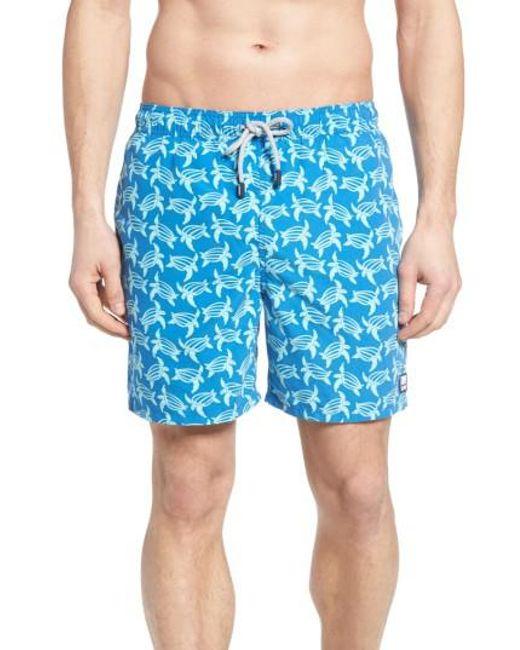 Tom & Teddy | Blue Turtle Print Swim Trunks for Men | Lyst
