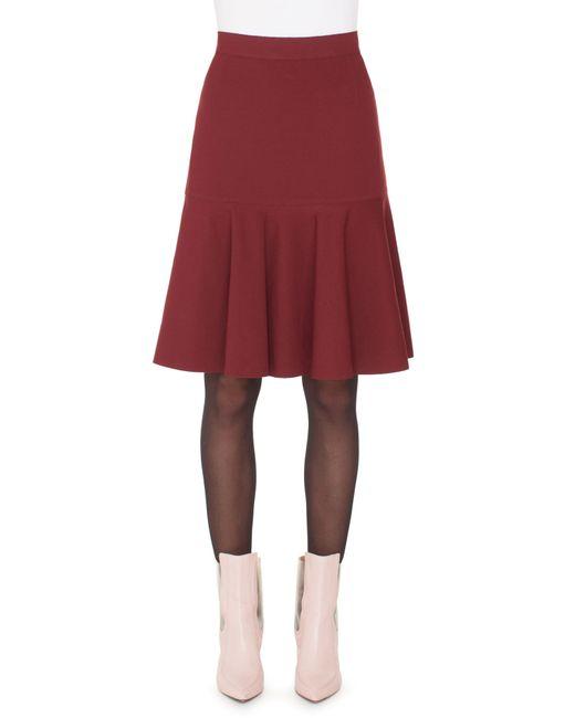 Akris Punto - Red High-waist Bell-shape Scuba Velvet Knee-length Skirt - Lyst