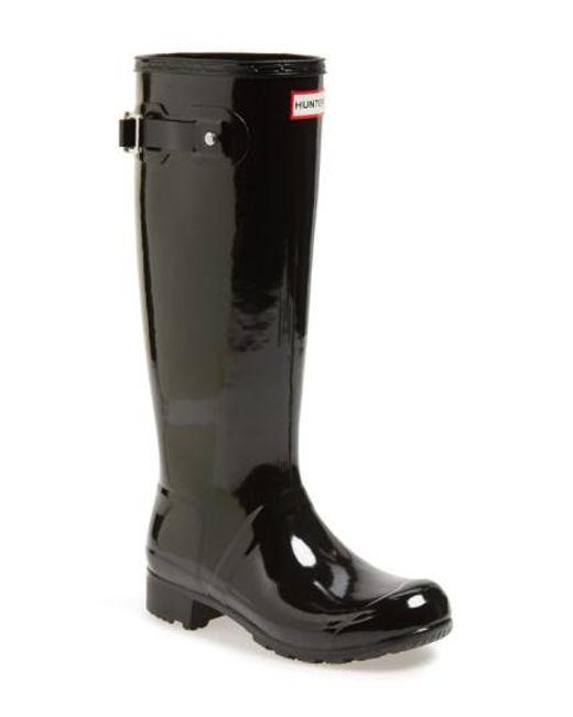 Hunter | Original Tour Gloss Packable Rain Boot, Black | Lyst