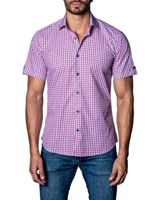 Jared Lang | Purple Check Sport Shirt for Men | Lyst