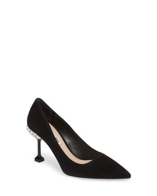 Miu Miu - Black Jeweled Pump - Lyst