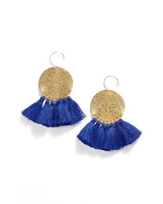 Serefina - Blue Lunar Tassel Earrings - Lyst
