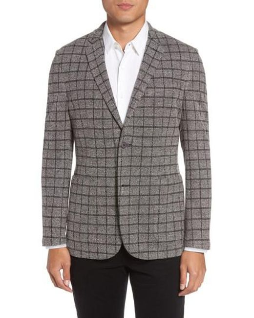 Vince Camuto | Gray Del Aria Slim Fit Check Knit Jacket for Men | Lyst