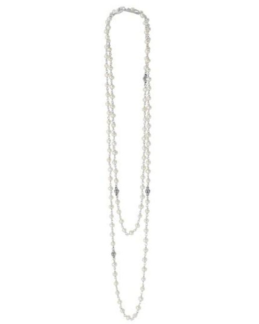 Lagos | Metallic 'luna' Long Pearl Necklace | Lyst