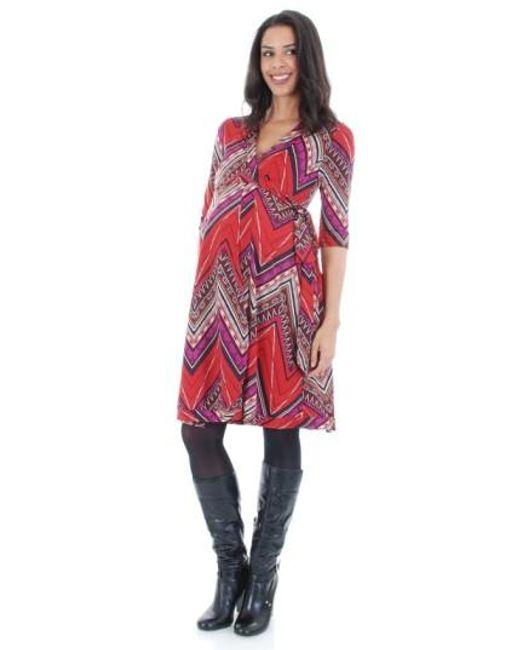 Everly Grey | Red 'kaitlyn' Maternity Wrap Dress | Lyst