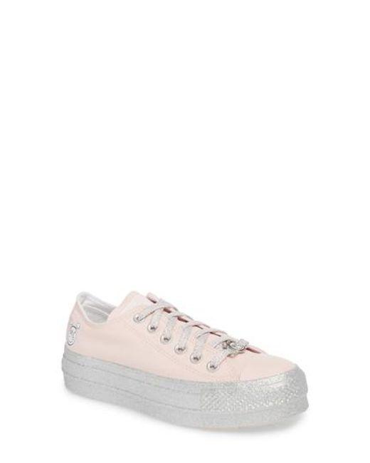 Converse - Pink X Miley Cyrus Chuck Taylor All Star Glitter Platform Sneaker - Lyst