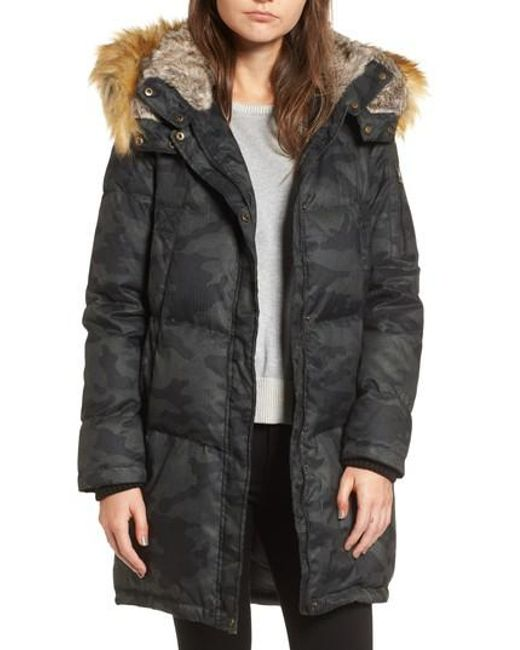 Vince Camuto | Black Down & Feather Fill Parka With Faux Fur Trims | Lyst