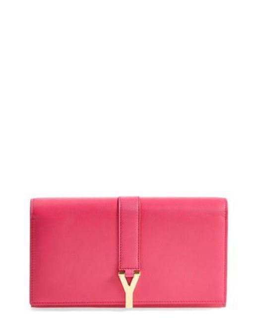 Saint Laurent - Pink 'large Ligne Y' Leather Wallet - Lyst