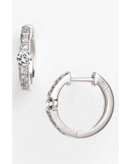 Bony Levy   Metallic 'linea' Small Diamond Hoop Earrings (nordstrom Exclusive)   Lyst