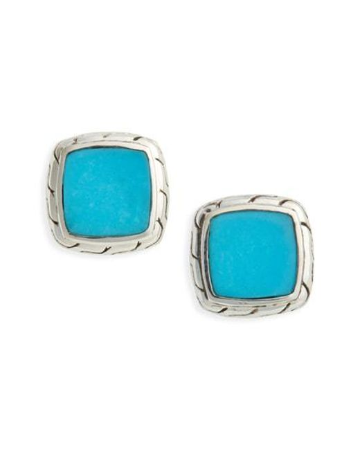 John Hardy - Blue Classic Silver Chain Turquoise Stud Earrings - Lyst