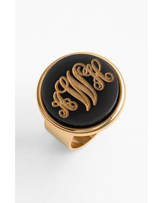 Moon & Lola - Black 'vineyard' Personalized Monogram Ring - Lyst