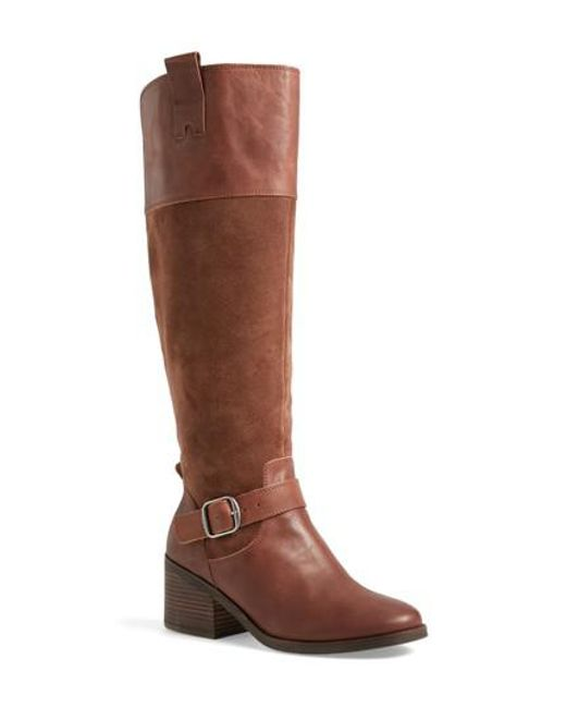 Lucky Brand | Brown Kailan Ankle Strap Tall Boot | Lyst