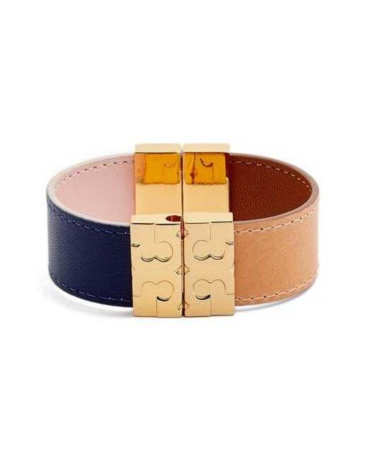 Tory Burch - Multicolor Colorblock Reversible Leather Bracelet - Lyst