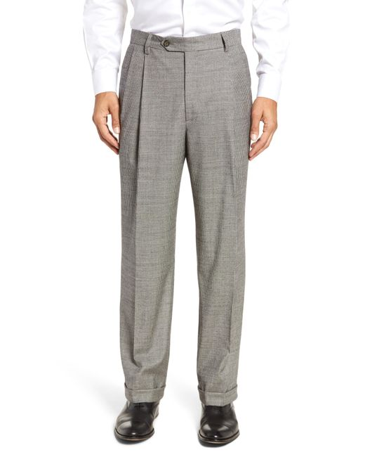 Berle - Gray Pleated Stretch Houndstooth Wool Trousers for Men - Lyst