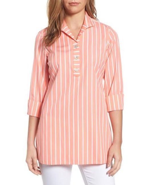 Foxcroft | Pink Dani Button Back Tunic Shirt | Lyst