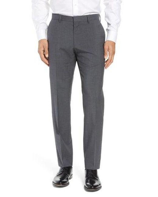 BOSS - Gray 'genesis' Flat Front Wool Trousers for Men - Lyst