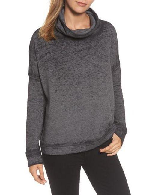 Caslon | Black Caslon Burnout Back Pleat Sweatshirt | Lyst