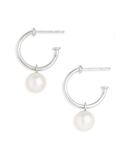 Mikimoto - White Akoya Cultured Pearl Semi Hoop Earrings - Lyst