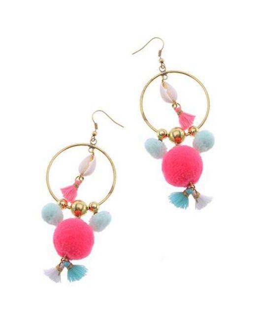 Nakamol - Pink Pom Hoop Earrings - Lyst