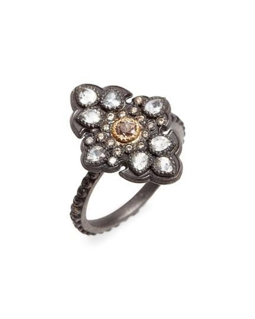 Armenta New World Pavé Scroll Ring with Champagne Diamonds & Black Sapphires 9TzMa