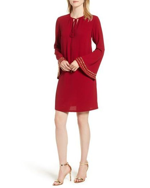 fa9a6b7d295 Lyst - Michael Michael Kors Embellished Bell Sleeve Shift Dress in Red