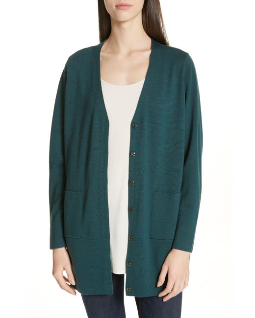 Eileen Fisher - Multicolor Snap Front Merino Wool Cardigan - Lyst