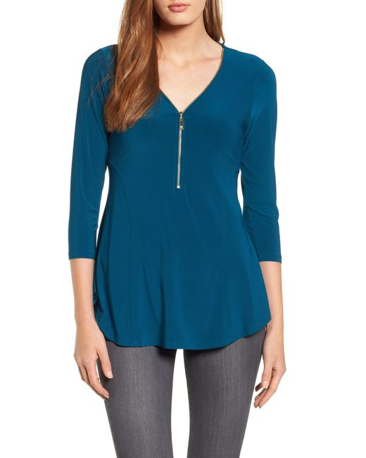 Chaus - Blue Zip Neck Top - Lyst