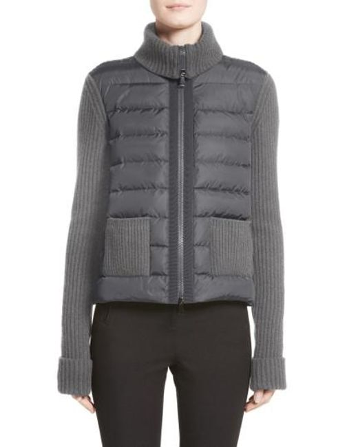 Moncler | Gray Ciclista Quilted Down Front Sweater Jacket | Lyst