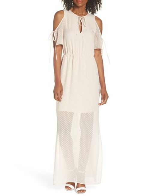 Charles Henry - Natural Tie Sleeve Cold Shoulder Maxi Dress - Lyst