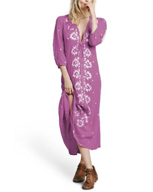 Free People | Purple Embroidered Maxi Dress | Lyst