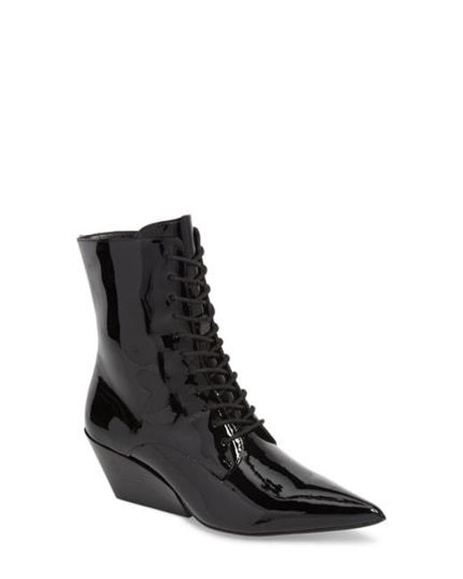Calvin Klein - Black Faith Pointy Toe Laced Bootie - Lyst