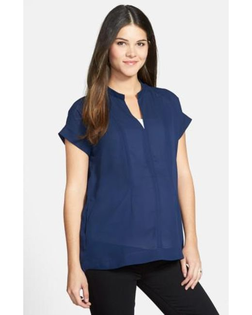Loyal Hana | Blue Carrie Crepe Maternity Top | Lyst
