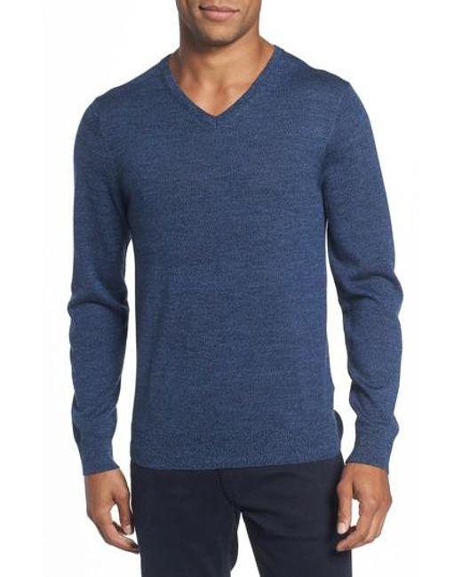Bonobos | Blue Merino V-neck Sweater for Men | Lyst