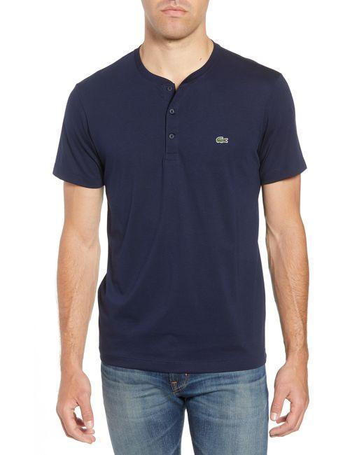 Lacoste - Blue Henley T-shirt for Men - Lyst