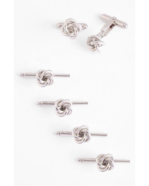 David Donahue - White Knot Cuff Link & Stud Set for Men - Lyst