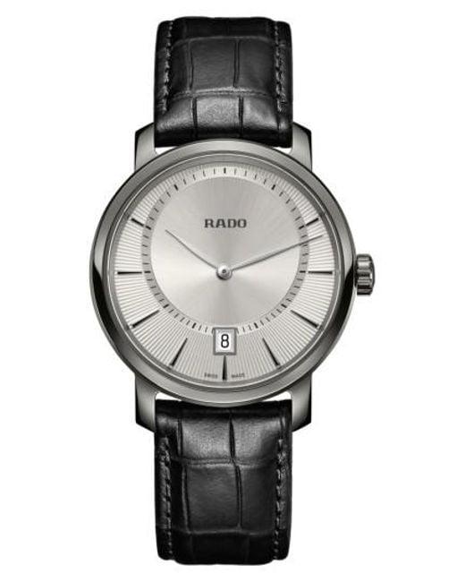 Rado - Black Diamaster Leather Strap Watch for Men - Lyst