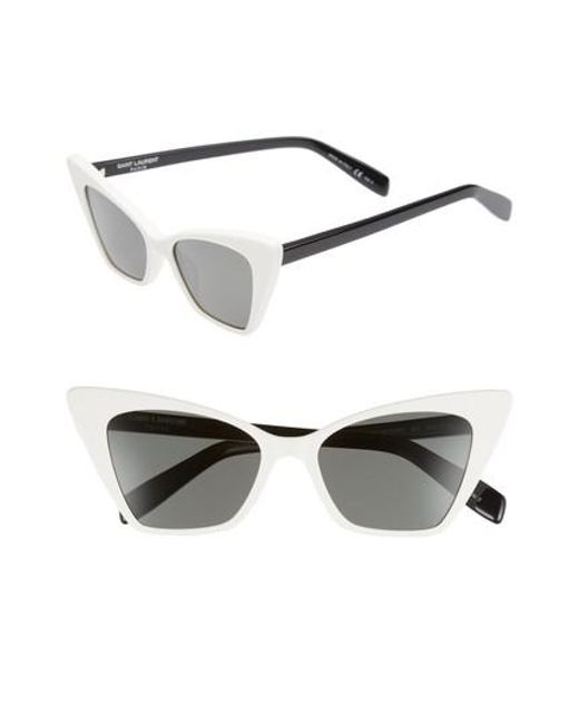 Saint Laurent - White 51mm Cat Eye Sunglasses - Lyst