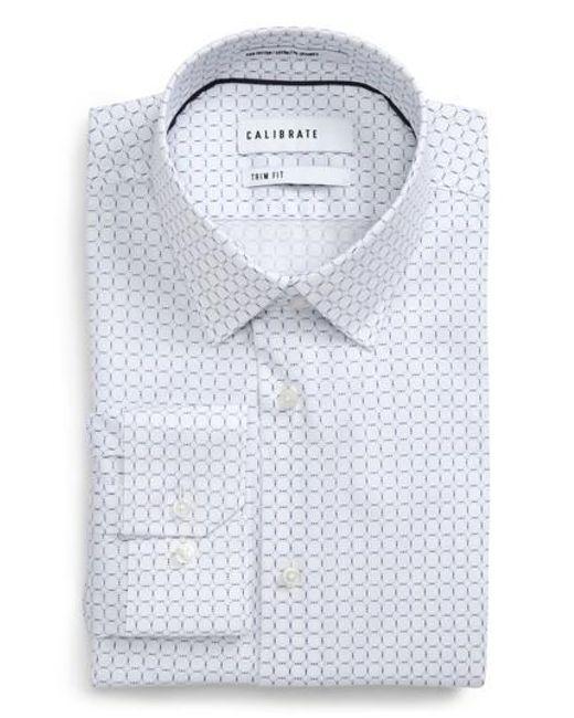 Calibrate | Blue Trim Fit Circle Print Dress Shirt for Men | Lyst