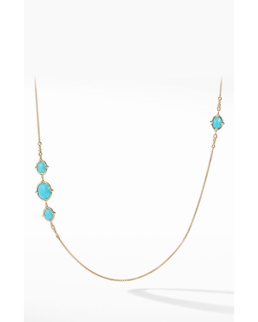 David Yurman - Metallic Chatelaine Long 18k Gold Necklace With Turquoise - Lyst